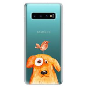 Silikonové odolné pouzdro iSaprio Pejsek a Ptáček na mobil Samsung Galaxy S10