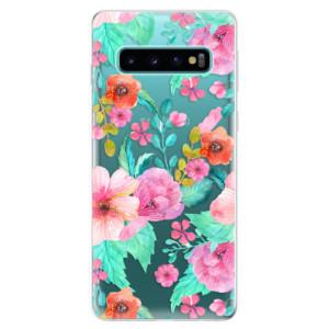 Silikonové odolné pouzdro iSaprio Flower Pattern 01 na mobil Samsung Galaxy S10
