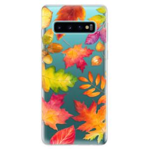 Silikonové odolné pouzdro iSaprio Podzimní Lístečky na mobil Samsung Galaxy S10