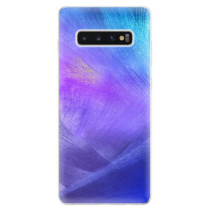 Silikonové odolné pouzdro iSaprio Fialové Peří na mobil Samsung Galaxy S10 Plus