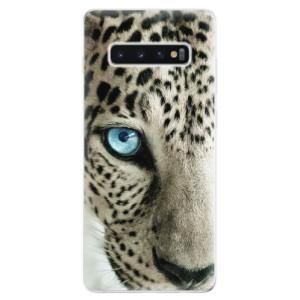 Silikonové odolné pouzdro iSaprio Bílý Panther na mobil Samsung Galaxy S10 Plus