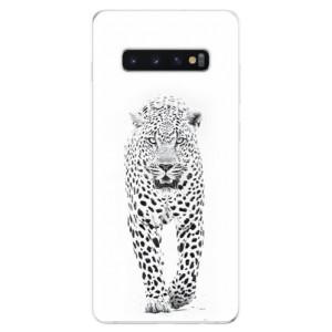 Silikonové odolné pouzdro iSaprio Bílý Jaguár na mobil Samsung Galaxy S10 Plus