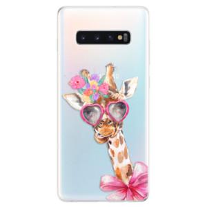 Silikonové odolné pouzdro iSaprio Žirafa Dámička na mobil Samsung Galaxy S10 Plus