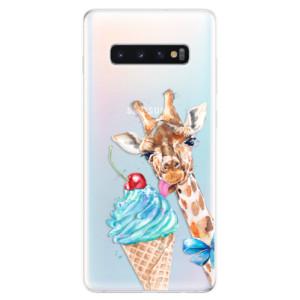 Silikonové odolné pouzdro iSaprio Žirafa a Zmrzka na mobil Samsung Galaxy S10 Plus