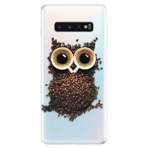 Silikonové odolné pouzdro iSaprio Sova Káva na mobil Samsung Galaxy S10 Plus