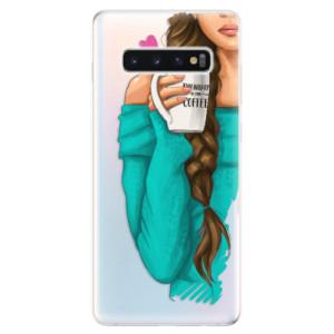 Silikonové odolné pouzdro iSaprio Brunetka s kafčem na mobil Samsung Galaxy S10 Plus