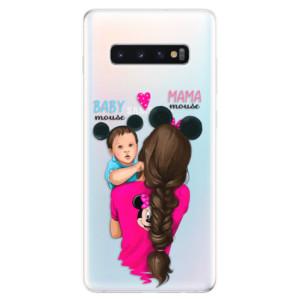 Silikonové odolné pouzdro iSaprio Mama Mouse Brunette and Boy na mobil Samsung Galaxy S10 Plus