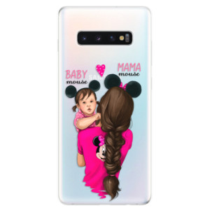 Silikonové odolné pouzdro iSaprio Mama Mouse Brunette and Girl na mobil Samsung Galaxy S10 Plus