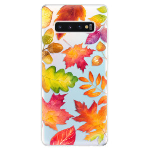 Silikonové odolné pouzdro iSaprio Podzimní Lístečky na mobil Samsung Galaxy S10 Plus