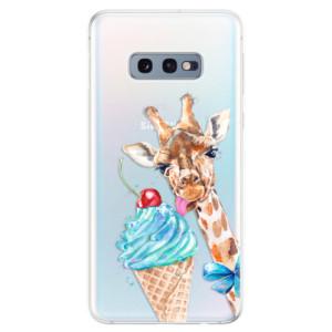 Silikonové odolné pouzdro iSaprio Žirafa a Zmrzka na mobil Samsung Galaxy S10e