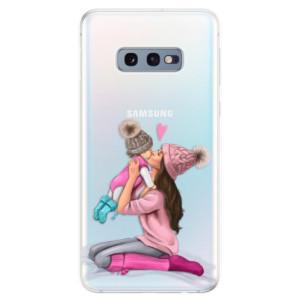 Silikonové odolné pouzdro iSaprio Kissing Mom Brunette and Girl na mobil Samsung Galaxy S10e