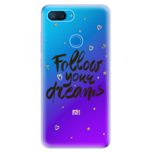 Silikonové odolné pouzdro iSaprio Follow Your Dreams černý na mobil Xiaomi Mi 8 Lite