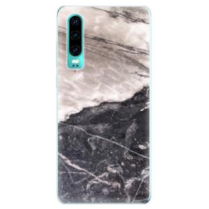 Silikonové odolné pouzdro iSaprio BW Mramor na mobil Huawei P30