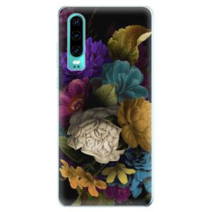 Silikonové odolné pouzdro iSaprio Temné Květy na mobil Huawei P30