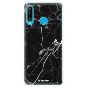Silikonové odolné pouzdro iSaprio Black Marble 18 na mobil Huawei P30 Lite