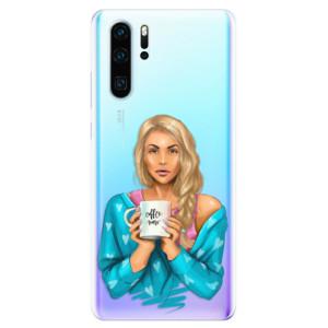 Silikonové odolné pouzdro iSaprio Coffee Now Blondýna na mobil Huawei P30 Pro