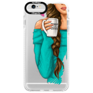 Silikonové pouzdro Bumper iSaprio My Coffe and Brunette Girl na mobil Apple iPhone 6/6S