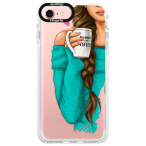 Silikonové pouzdro Bumper iSaprio My Coffe and Brunette Girl na mobil Apple iPhone 7