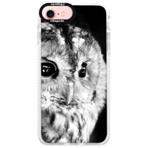 Silikonové pouzdro Bumper iSaprio BW Owl na mobil Apple iPhone 7