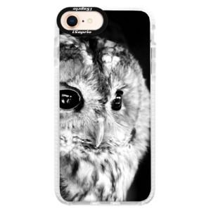Silikonové pouzdro Bumper iSaprio BW Owl na mobil Apple iPhone 8