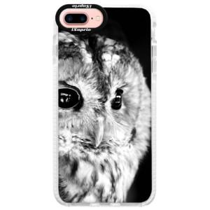 Silikonové pouzdro Bumper iSaprio BW Owl na mobil Apple iPhone 7 Plus