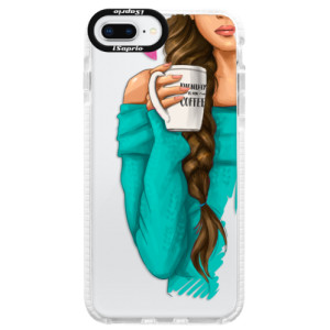 Silikonové pouzdro Bumper iSaprio My Coffe and Brunette Girl na mobil Apple iPhone 8 Plus