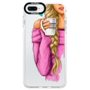 Silikonové pouzdro Bumper iSaprio My Coffe and Blond Girl na mobil Apple iPhone 8 Plus