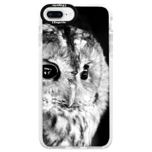 Silikonové pouzdro Bumper iSaprio BW Owl na mobil Apple iPhone 8 Plus