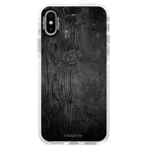 Silikonové pouzdro Bumper iSaprio Black Wood 13 na mobil Apple iPhone X