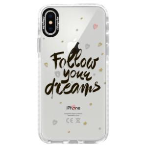 Silikonové pouzdro Bumper iSaprio Follow Your Dreams black na mobil Apple iPhone X