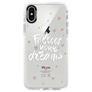 Silikonové pouzdro Bumper iSaprio Follow Your Dreams white na mobil Apple iPhone X