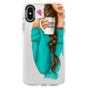 Silikonové pouzdro Bumper iSaprio My Coffe and Brunette Girl na mobil Apple iPhone X