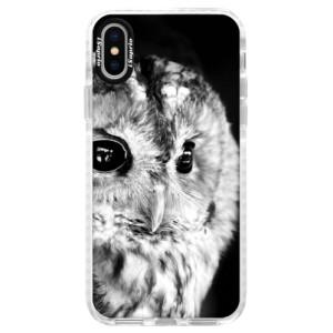 Silikonové pouzdro Bumper iSaprio BW Owl na mobil Apple iPhone X