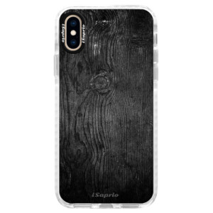 Silikonové pouzdro Bumper iSaprio Black Wood 13 na mobil Apple iPhone XS