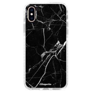 Silikonové pouzdro Bumper iSaprio Black Marble 18 na mobil Apple iPhone XS