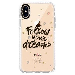 Silikonové pouzdro Bumper iSaprio Follow Your Dreams black na mobil Apple iPhone XS