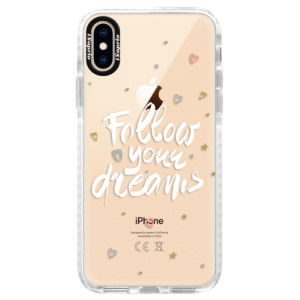 Silikonové pouzdro Bumper iSaprio Follow Your Dreams white na mobil Apple iPhone XS