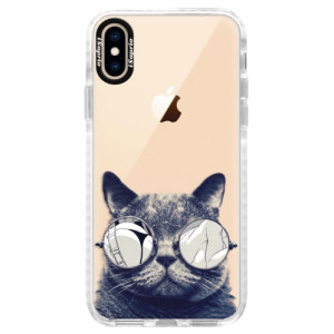 Silikonové pouzdro Bumper iSaprio Crazy Cat 01 na mobil Apple iPhone XS