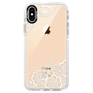 Silikonové pouzdro Bumper iSaprio white Lace 02 na mobil Apple iPhone XS