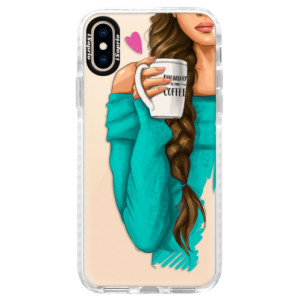 Silikonové pouzdro Bumper iSaprio My Coffe and Brunette Girl na mobil Apple iPhone XS