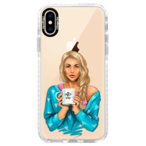 Silikonové pouzdro Bumper iSaprio Coffe Now Blond na mobil Apple iPhone XS
