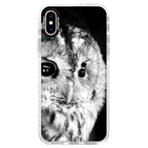 Silikonové pouzdro Bumper iSaprio BW Owl na mobil Apple iPhone XS