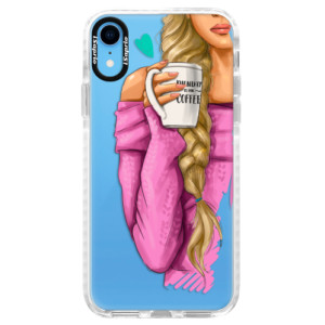 Silikonové pouzdro Bumper iSaprio My Coffe and Blond Girl na mobil Apple iPhone XR