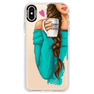 Silikonové pouzdro Bumper iSaprio My Coffe and Brunette Girl na mobil Apple iPhone XS Max