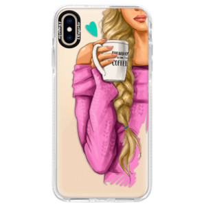 Silikonové pouzdro Bumper iSaprio My Coffe and Blond Girl na mobil Apple iPhone XS Max
