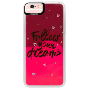 Neonové pouzdro Pink iSaprio Follow Your Dreams black na mobil Apple iPhone 6/6S
