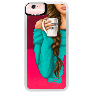 Neonové pouzdro Pink iSaprio My Coffe and Brunette Girl na mobil Apple iPhone 6/6S
