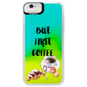 Neonové pouzdro Blue iSaprio First Coffee na mobil Apple iPhone 6/6S