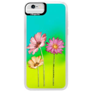 Neonové pouzdro Blue iSaprio Three Flowers na mobil Apple iPhone 6/6S - poslední kousek za tuto cenu