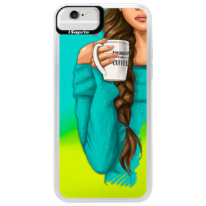 Neonové pouzdro Blue iSaprio My Coffe and Brunette Girl na mobil Apple iPhone 6/6S